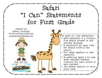 "Safari ""I Can"" Statements for 1st Grade"