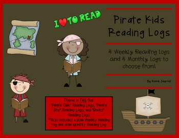 Pirate Kids Reading Logs: Daily and Monthly Recording Sheets ELA