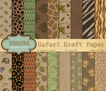 Safari Kraft Digital Paper Backgrounds - Baby Jungle Anima