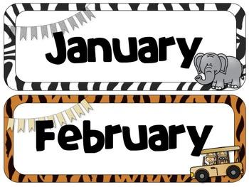 Safari Theme Calendar Headers | Months and Days of the Week