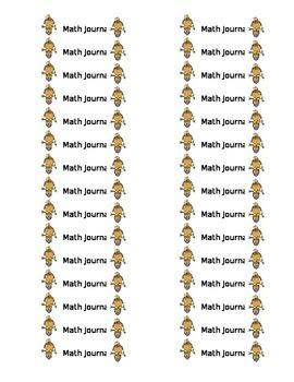 Safari Theme Math Journal Labels