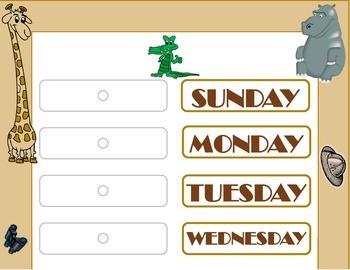 Safari Weekday Chart! Safari Bulletin Board! African Safar