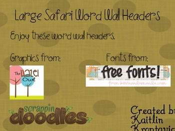 Safari Word Wall Headers
