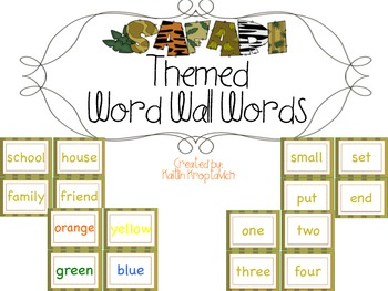 Safari Word Wall Words
