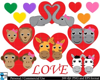 Safari animals in love Clipart Personal, Commercial Use 13