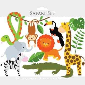 Safari clipart - safari clip art lion monkey giraffe zebra