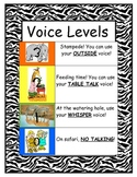 Safari/Zebra/Jungle Themed VOICE LEVEL Chart