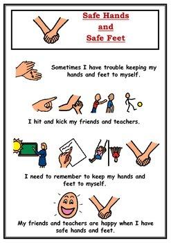 Safe hands and safe feet Social Story