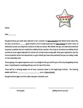 Safety Patrol Acceptance letter