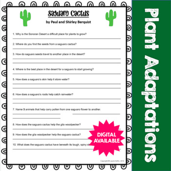 Saguaro Cactus by Paul and Shirley Berquist Questions- Com