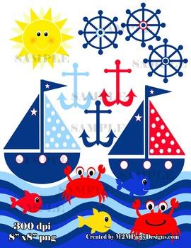 Sailboat Clipart, Boat Clip Art, Fish, Crab, Sailing Clipa