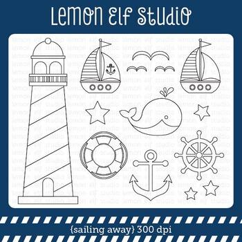 Sailing Away-Digital Stamp (LES.DS13)