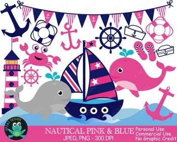 Pink and Blue Nautical Sailing Set {Upzaz Digital Clipart}