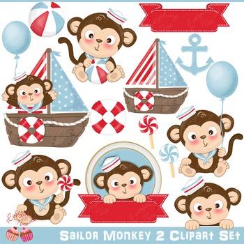 Sailor Monkey Monkeys 2 Baby Clipart Set