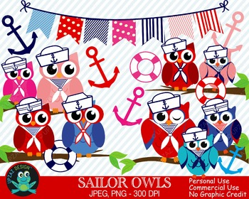 Sailor Owls {Upzaz Digital Clipart}