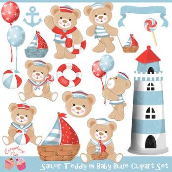 Sailor Teddy (Baby Blue) Clip Art Set