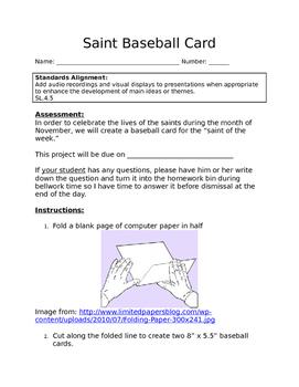 Saint Baseball Card
