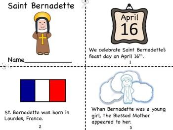 Saint Bernadette Mini Book and Coloring Page