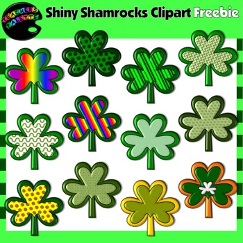 Saint Patrick's Day Clipart Freebie--Shiny Shamrocks