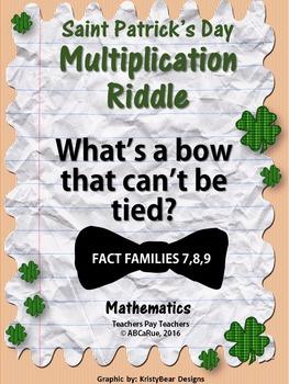Saint Patrick's Day Multiplication Riddle Worksheet (7,8,9