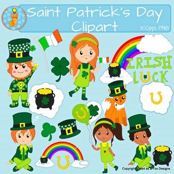 Saint Patrick's Day clip art (Blacklines included)
