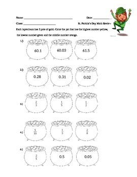 Saint Patrick's Day Comparing Decimals and Fractions Review