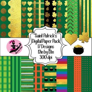 Saint Patricks Day Digital Paper- 16 Designs- 12 by 12- 300 dpi