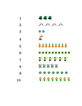 Saint Patrick's Day Number Recognition Draw a Line 1 to 10