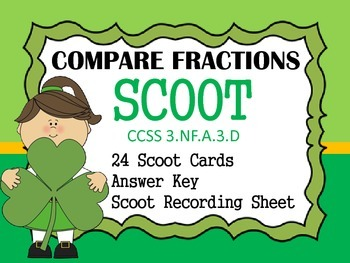 St Patrick's Day Scoot Compare Like Fractions CCSS 3.NF.A.3.D