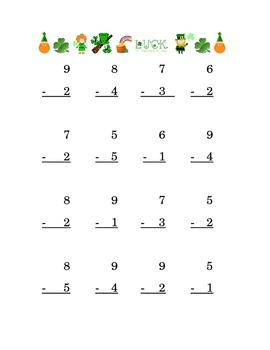 Saint Patrick's Day Subtraction Single Digits Kindergarten Math