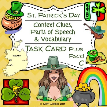 Saint Patrick's Day Task Cards, Worksheets, Quiz and Vocab