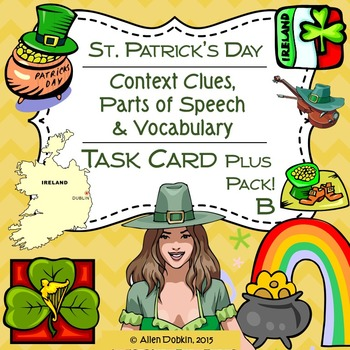 Saint Patrick's Day Task Cards, Worksheets, Quizzes and Vo