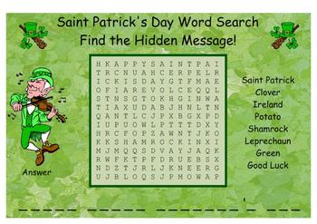 Saint Patrick's Day Word Search SMARTBoard
