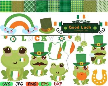 Saint Patricks Day frog SVG clip art Irish background FRAM
