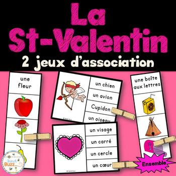 Saint-Valentin - Ensemble 2 jeux d'association - French Va