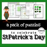 St. Patrick's Day Math Puzzles - algebra skills
