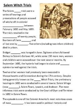 Salem Witch Trials Cloze Activity
