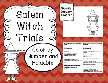 Salem Witch Trials Color By Number and Foldable