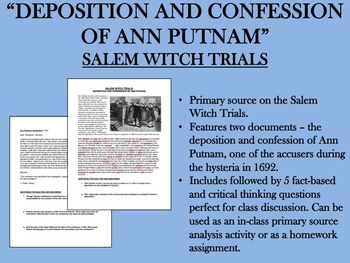 """Deposition and Confession of Ann Putnam"" - Salem Witch Tr"