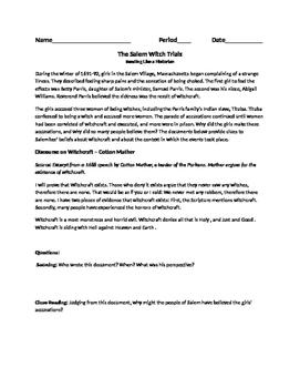 Salem Witch Trials Primary Docs