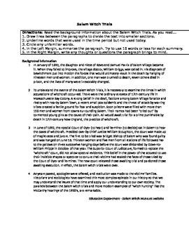 Salem Witch Trials Primary Source Activity