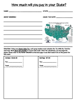 Sales Tax Group Activity - How much will you pay in your State?