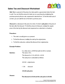 Sales Tax and Discount Worksheet