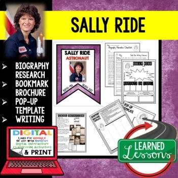 Sally Ride Biography Research, Bookmark, Pop-Up, Writing