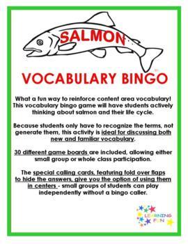 Salmon Vocabulary Bingo