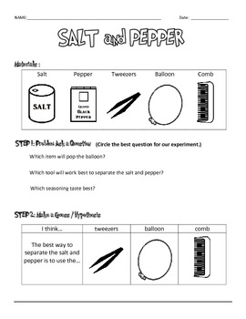 Salt and Pepper Experiment Data Sheets