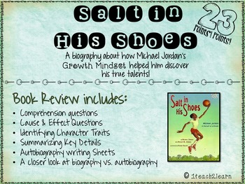 Salt in His Shoes Activites for Story Elements, Growth Mindset