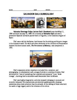 Salvador Dali Worksheet
