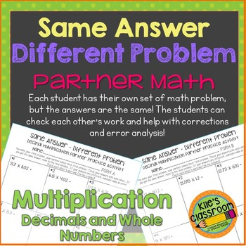 Decimal Multiplication Partner Math Activity/Same Answer -