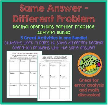 Decimal Operations Partner Activity / Same Answer - Differ